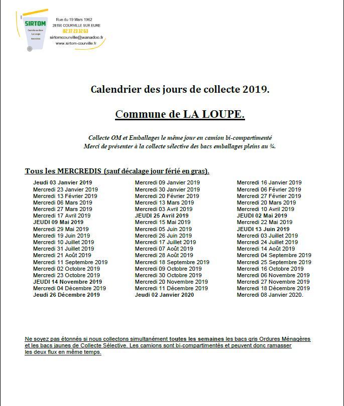 Calendrier Eboueur 2020.Ville De La Loupe Sirtom Les Ordures Menageres Mairie